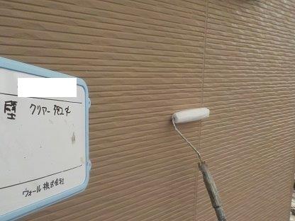外壁サイディングキルコ断熱塗料塗装トップコート塗装状況