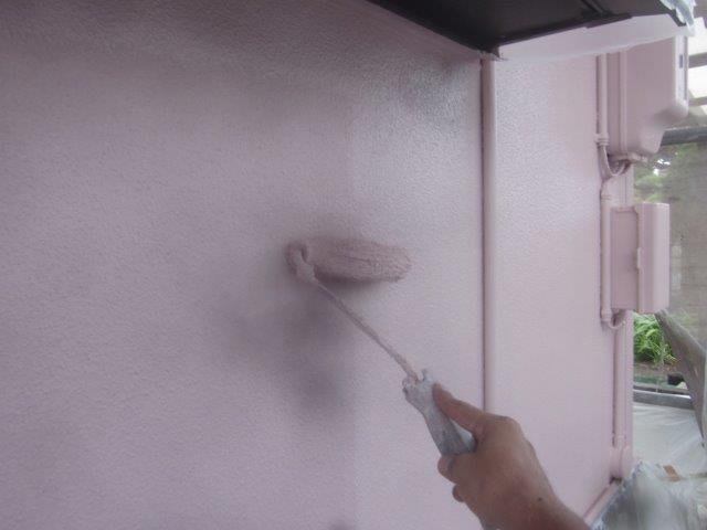 外壁サイディングキルコ断熱塗料塗装主材二層目塗装状況