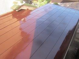 屋根塗装上塗り一層目塗装完了