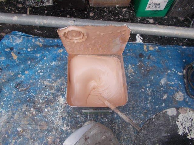 外壁サイデイング塗装使用材料キルコ断熱塗料仕様前攪拌状況