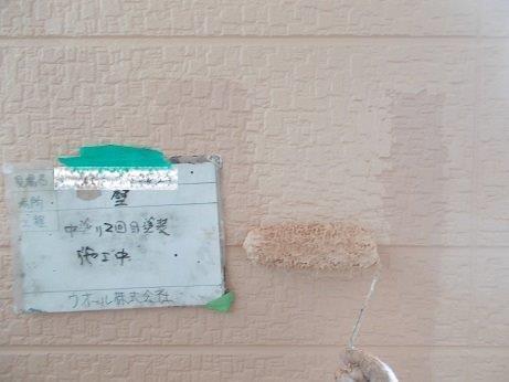 外壁サイディング塗装キルコ断熱塗料二層目塗装状況