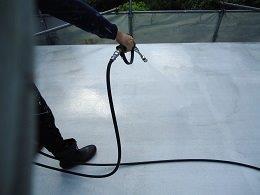 屋上防水施工前高圧洗浄状況