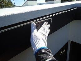外壁付帯部塗装前素地調整状況