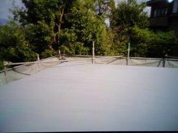 屋上防水断熱仕様防止材二層目完了