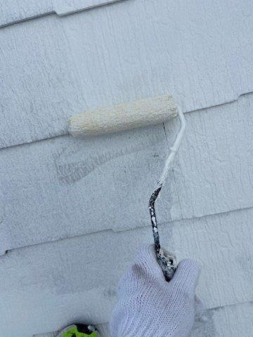 屋根遮断熱塗料塗装主材二層目塗装状況