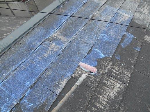 屋根遮断熱塗料塗装下塗り塗装状況