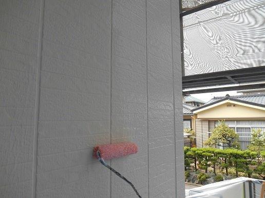 外壁サイディング断熱塗料塗装トップコート塗装状況