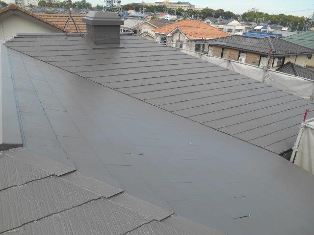 屋根遮断熱塗料塗装上塗り二層目塗装完了