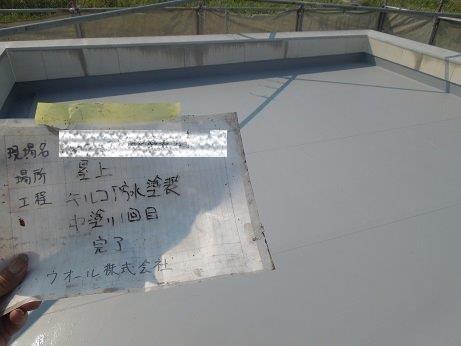 屋上防水遮断熱塗料塗装防水材一層目塗装完了