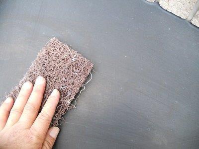外壁付帯部庇板金塗装前素地調整状況