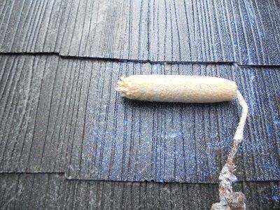 屋根カラーベスト遮断熱塗料塗装下塗り塗装状況