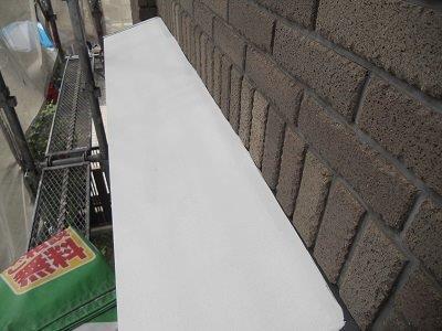 外壁付帯部庇板金塗装錆止め塗装完了