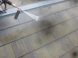 屋根遮断熱塗料塗装前高圧洗浄状況