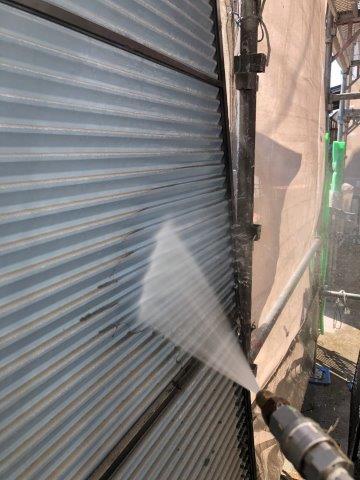 外壁塗装施工前高圧洗浄状況