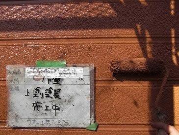 外壁サイデイング無機塗料上塗り二層目塗装状況