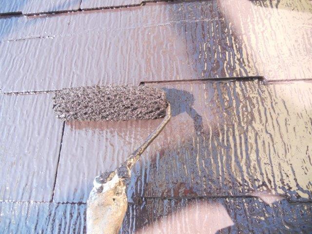 屋根カラーベスト無機塗料上塗り二層目塗装状況