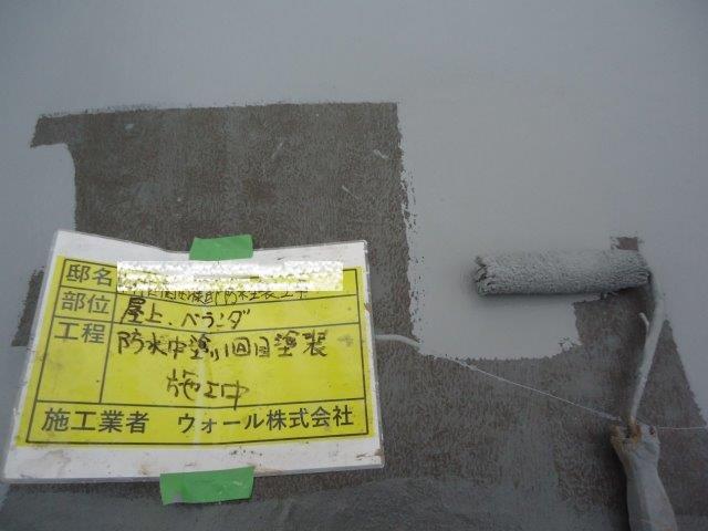 陸屋根防水主材一層目塗装状況