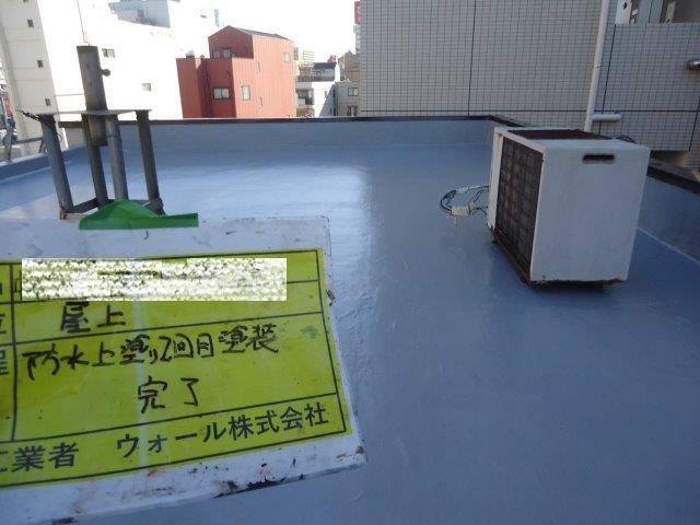 陸屋根防水トップコート二層目塗装完了