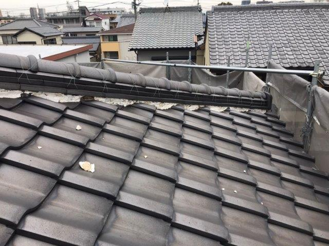 屋根漆喰工事施工前