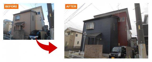 外壁塗装の例ブラウン×ブラック