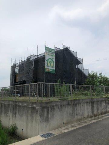 外壁塗装工事足場仮設完了