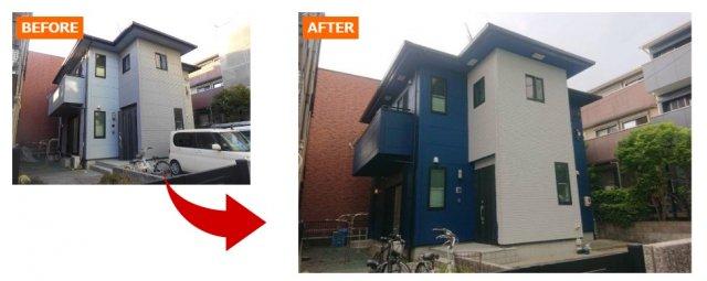 外壁塗装の例ホワイト×ブルー