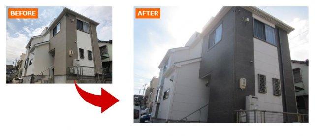 外壁塗装の例ホワイト×ブラック