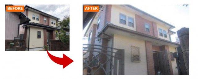 上手に色分けされたツートーンカラーの家の例