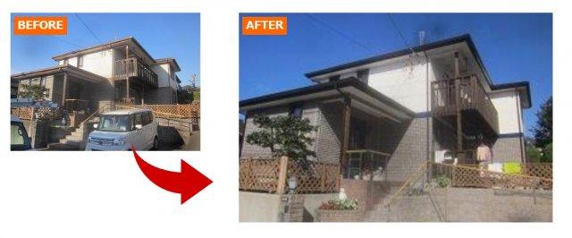 サイディング材を上手く使った和風の家の例